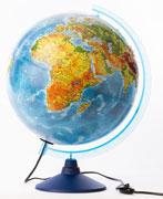 GLOBEN Глобус Земли физико-политический рельефный 320 с подсветкой серия Евро